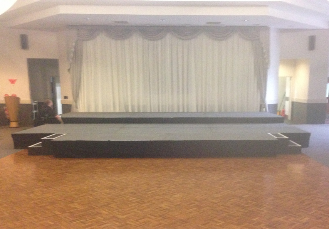 gallery/stage with drapes